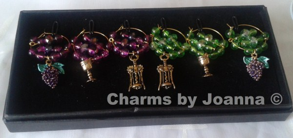 boxed set of wine glass charms